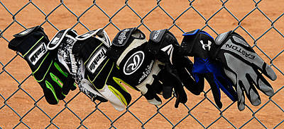Batting Gloves Print by Ron Regalado