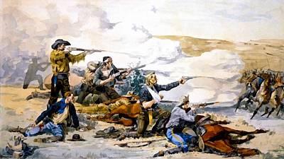 Battle Of Beechers Island Print by Frederic Remington