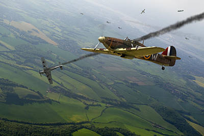 Battle Of Britain Dogfight Print by Gary Eason