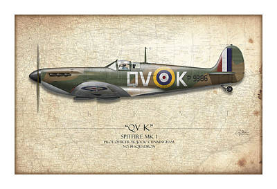 Battle Of Britain Qvk Spitfire - Map Background Print by Craig Tinder