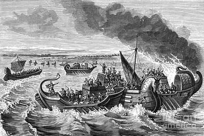 Battle Of Morbihan, 56 Bc Print by Photo Researchers