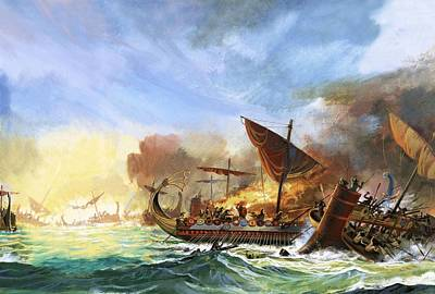 Battle Of Salamis Print by Andrew Howat
