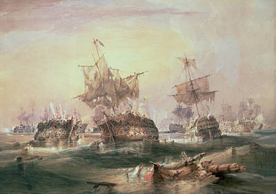 Battle Of Trafalgar Print by William John Huggins