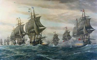 Battle Of Virginia Capes Print by Celestial Images