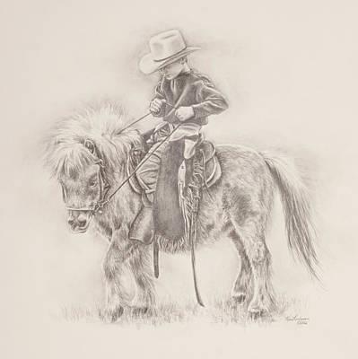 Pony Drawing - Battle Of Wills by Kim Lockman