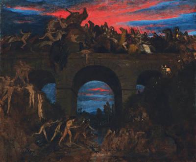 Arnold Boecklin Painting - Battle On The Bridge by Arnold Boecklin