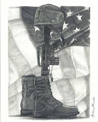 Iraq Drawing - Battlefield Cross by Melena Paradee