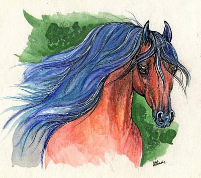 Bay Arabian Horse With Blue Mane 30 10 2013 Print by Angel  Tarantella
