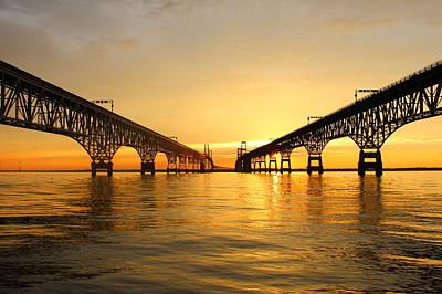Bay Bridge Sunset Print by Jennifer Casey