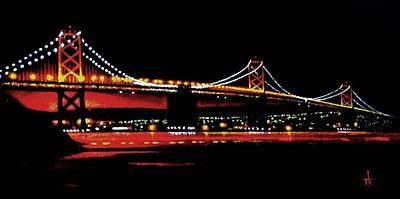 Sunsert Painting - Bay Bridge by Thomas Kolendra