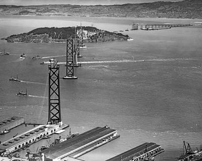Bay Bridge Under Construction Print by Charles Hiller