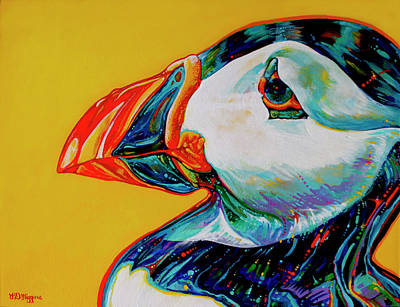 Puffin Painting - Bay Bulls Puffin by Derrick Higgins