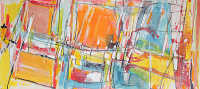 Abstract - Expressionist - African Art Painting - Bay City Windows At Sunset by Hari Thomas