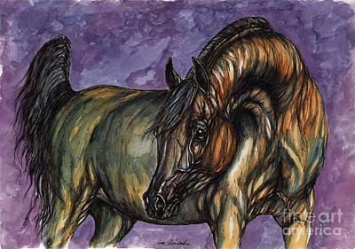 Bay Horse On The Purple Background Original by Angel  Tarantella