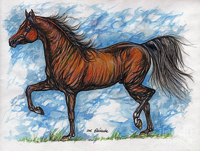 Bay Horse Running Print by Angel  Tarantella