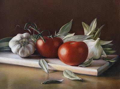 Tomato Drawing - Bay Leafs And Tomatoes by Natasha Denger