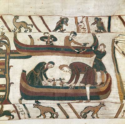 Tapestries Textiles Photograph - Bayeux Tapestry. 1066-1077. Making by Everett