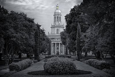 College Photograph - Baylor University Icon Bw by Joan Carroll
