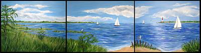 Bayville Painting - Bayville Trio by Clara Sue Beym