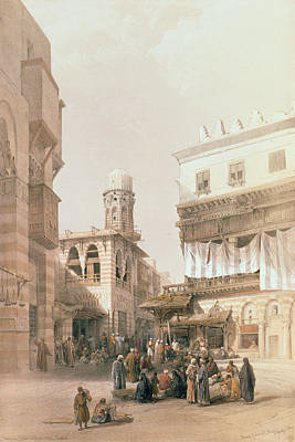 Street Drawing - Bazaar Of The Coppersmiths, Cairo by David Roberts