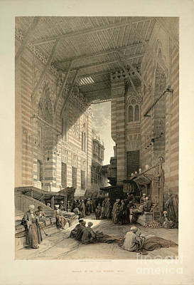 Bazaar Of The Silk Mercers Print by British Library