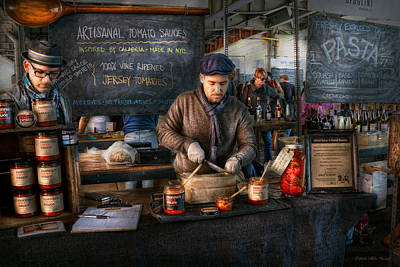 Bazaar - We Sell Tomato Sauce  Print by Mike Savad