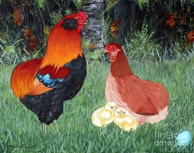 Hens And Chicks Painting - Bb Red Araucana Sop by Amanda Hukill
