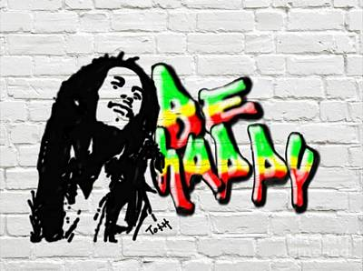 Spray Paint Digital Art - Be Happy by Laura Toth