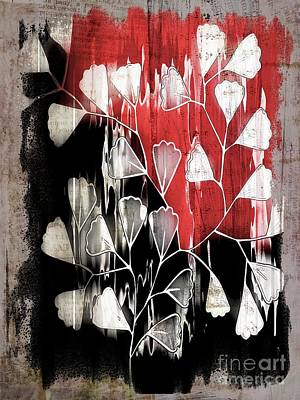 Variation Digital Art - Be-leaf - Red Black A05bt3a by Variance Collections
