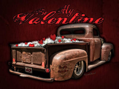 Be My Valentine Digital Art - Be My Valentine With Hearts And Flowers by Chas Sinklier