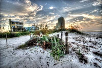 Sand Fences Digital Art - Beach And Buildings by Michael Thomas