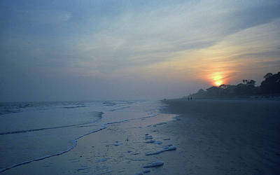 Beach And Sunset Print by Frank Romeo