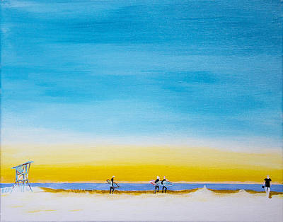 Oceanscape Painting - Surfers On The Beach by Ben and Raisa Gertsberg