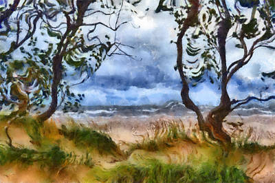 Sand Fences Digital Art - Beach And Trees by Michelle Calkins