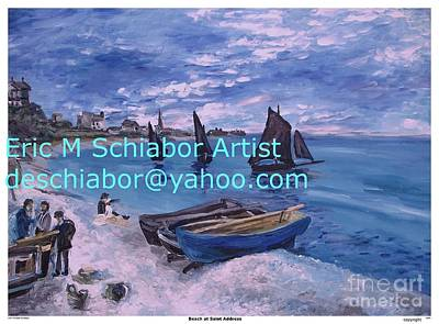 Row Boat Drawing - Beach At Saint Address by Eric  Schiabor