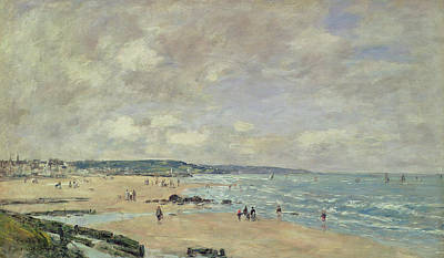 Boat On Beach Painting - Beach At Trouville by Eugene Louis Boudin