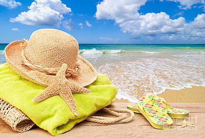 Towel Photograph - Beach Bag With Sun Hat by Amanda And Christopher Elwell