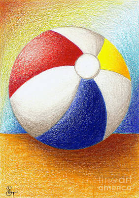 Balls Drawing - Beach Ball by Stephanie Troxell