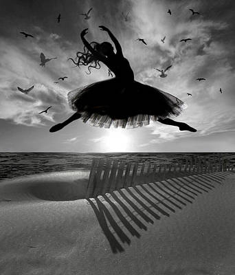 Sand Fences Digital Art - Beach Ballerina by Nina Bradica