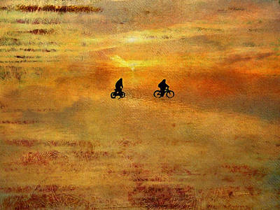 Abstract Beach Landscape Digital Art - Beach Bike Too by Kathy Bassett