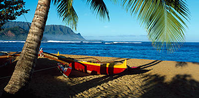 Beach Boat Hanalei Bay Kauai Hi Usa Print by Panoramic Images