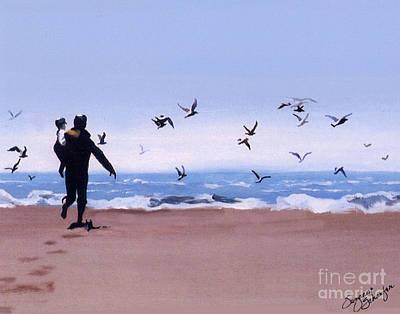 Sea Birds Painting - Beach Buddies by Suzanne Schaefer
