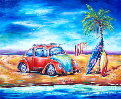 Surfboards Painting - Beach Bug by Deb Broughton