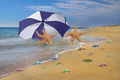 Umbrellas Digital Art - Beach Bums by Betsy C Knapp