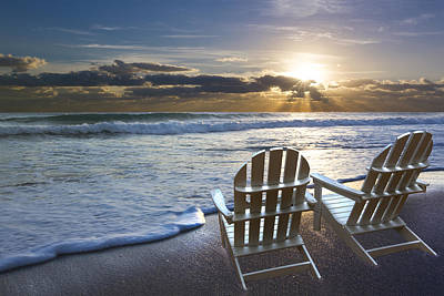 Beach Chairs Print by Debra and Dave Vanderlaan
