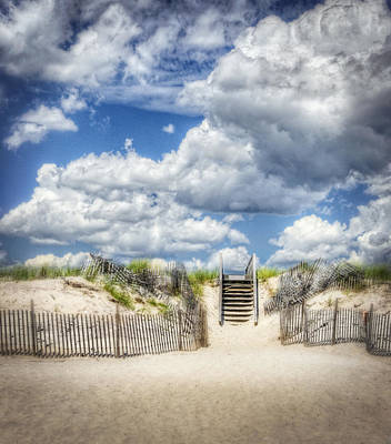 Beach Clouds And Fence Print by Vicki Jauron