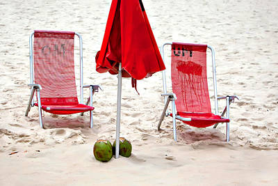 Ipanema Beach Photograph - Beach Coconuts by Art Block Collections