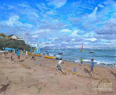 Children Sports Painting - Beach Cricket by Andrew Macara