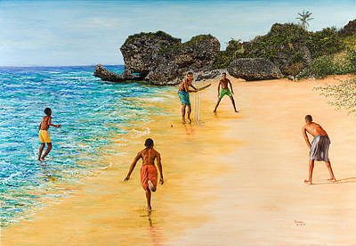 Children Sports Painting - Beach Cricket by Victor Collector