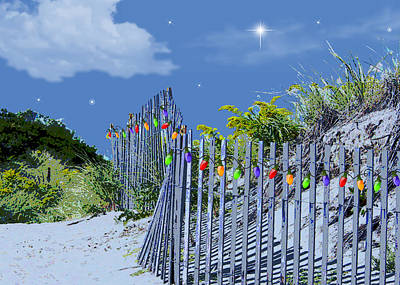 Wreath Painting - Beach Fence And Dune For Christmas  by Elaine Plesser